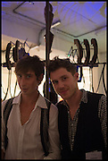JAMES CALDICOTT; SAM APLEY IN FRONT OF CAM FOLLOWER, CIRCUS KINETICA, Kinetica Art Fair, Truman Building, Brick Lane, London. London. 16 October 2014