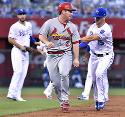 August 8, 2017 - Kansas City, MO, USA - Kansas City Royals second baseman Whit Merrifield, right, tags out the St. Louis Cardinals' Jedd Gyorko on a rundown in the fourth inning at Kauffman Stadium in Kansas City, Mo., on Tuesday, Aug. 8, 2017. (Credit Image: © John Sleezer/TNS via ZUMA Wire)