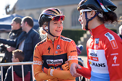 Jip van den Bos chats to Christine Majerus whilst they wait to sign in at Women's Gent Wevelgem 2017. A 145 km road race on March 26th 2017, from Boezinge to Wevelgem, Belgium. (Photo by Sean Robinson/Velofocus)