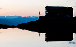 THEMENBILD - Sonnenuntergang am Laserz, Silhouette Karlsbaderhuette am Laserzsee , Lienzer Dolomiten, AUT, EXPA Pictures © 2011, PhotoCredit: EXPA/ M. Gruber