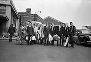 02/07/1963<br /> 07/02/1963<br /> 02 July 1963<br /> Ulster Schools Cricket team arrive at Amiens Street (Connolly) Station, Dublin to play Leinster. Picture shows the team and officials leaving the train station.