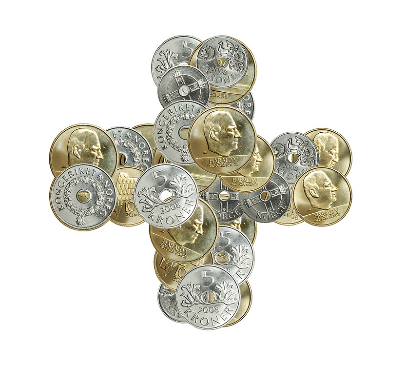 Pluss-tegnet i form av norsk mynt, isolert mot hvit bakgrunn.