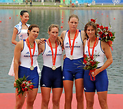 Shunyi, CHINA.  GBR W4X, left to right, Annie VERNON, Debbie FLOOD, Frances HOUGHTON and Katherine GRAINGER,  winning the Silver  medal at the 2008 Olympic Regatta, Shunyi Rowing Course.  Sun 17.08.2008.  [Mandatory Credit: Peter SPURRIER, Intersport Images