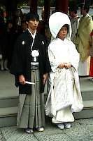 """Japanese Shinto Wedding - The Japanese couple must first be legally married by filing for marriage at their local government office, and the official documentation must be produced in order for the ceremony to be held. Traditionally, marriages were categorized into two types according to the method of finding a partner—miai, meaning arranged or resulting from an arranged introduction, and ren'ai, in which the principals met and decided to marry on their own.  The Japanese bride-to-be may be painted pure white from head to toe, visibly declaring her maiden status to the gods.  Traditional Japanese wedding customs """"shinzen shiki"""" involve an elaborate ceremony held at a Shinto shrine."""