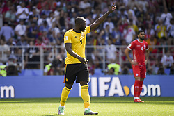 June 23, 2018 - Moscow, Russia - Romelu Lukaku of Belgium celebrates his scoring during the 2018 FIFA World Cup Group G match between Belgium and Tunisia at Spartak Stadium in Moscow, Russia on June 23, 2018  (Credit Image: © Andrew Surma/NurPhoto via ZUMA Press)