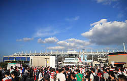 A general view of the exterior of the stadium during the 2019 Rugby World Cup Pool A match at Tokyo Stadium.