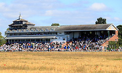 A general view of the grandstand during The British EBF Confined Novice Stakes at Thirsk Racecourse, Thirsk. PRESS ASSOCIATION Photo. Picture date: Wednesday July 4, 2018. Photo credit should read: Simon Cooper/PA Wire