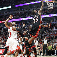 14 March 2012: Miami Heat point guard Mario Chalmers (15) goes for the layup during the Chicago Bulls 106-102 victory over the Miami Heat at the United Center, Chicago, Illinois, USA.