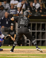CHICAGO - AUGUST 23:  Leury Garcia #28 of the Chicago White Sox bats against the Texas Rangers during Players Weekend on August 23, 2019 at Guaranteed Rate Field in Chicago, Illinois.  (Photo by Ron Vesely)  Subject:   Leury Garcia