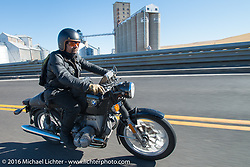 Andreas Kaindl riding a borrowed 1924 BMW R75 during Stage 15 (244 miles) of the Motorcycle Cannonball Cross-Country Endurance Run, which on this day ran from Lewiston, Idaho to Yakima, WA, USA. Saturday, September 20, 2014.  Photography ©2014 Michael Lichter.