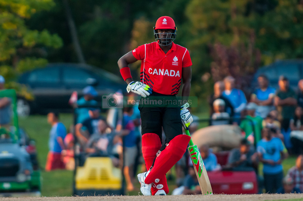 September 22, 2018 - Morrisville, North Carolina, US - Sept. 22, 2018 - Morrisville N.C., USA - Team Canada ROGRIGO AUSTINE THOMAS (46) waits to bat during the ICC World T20 America's ''A'' Qualifier cricket match between USA and Canada. Both teams played to a 140/8 tie with Canada winning the Super Over for the overall win. In addition to USA and Canada, the ICC World T20 America's ''A'' Qualifier also features Belize and Panama in the six-day tournament that ends Sept. 26. (Credit Image: © Timothy L. Hale/ZUMA Wire)