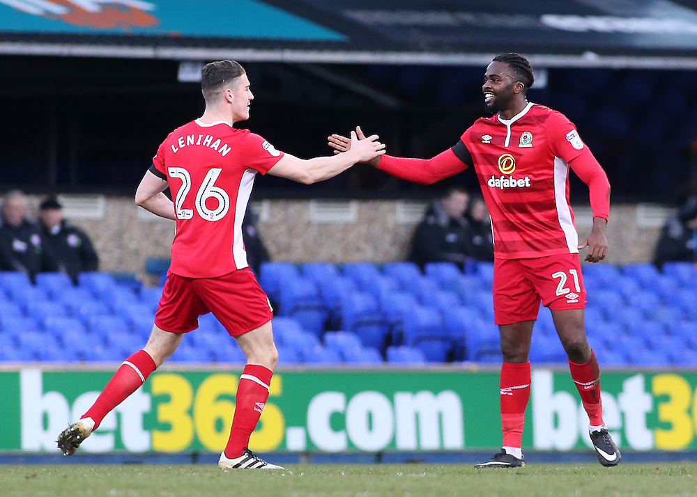 Blackburn Rovers' Hope Akpan celebrates scoring his sides equalising goal to make the score 1-1 with Darragh Lenihan<br /> <br /> Photographer David Shipman/CameraSport<br /> <br /> The EFL Sky Bet Championship - Ipswich Town v Blackburn Rovers - Saturday 14th January 2017 - Portman Road - Ipswich<br /> <br /> World Copyright © 2017 CameraSport. All rights reserved. 43 Linden Ave. Countesthorpe. Leicester. England. LE8 5PG - Tel: +44 (0) 116 277 4147 - admin@camerasport.com - www.camerasport.com
