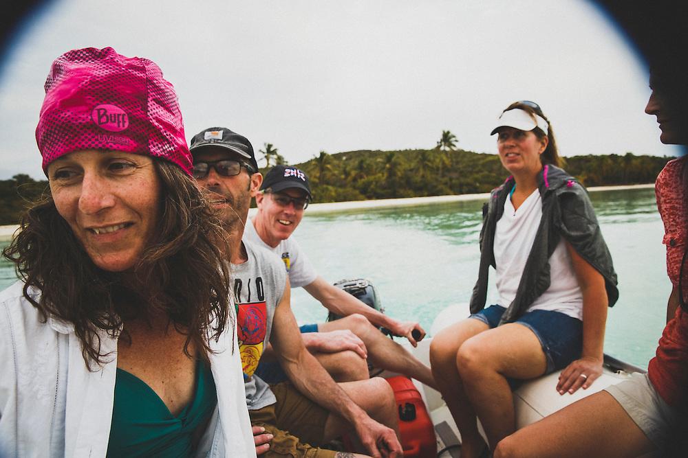 The dinghy ride near Lee Stocking Cay, Exumas, Bahamas.