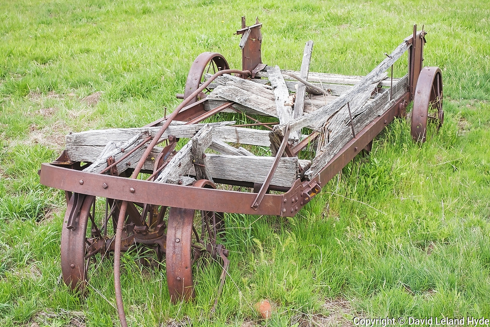 Old Farm Wagon in Grass, Town of Genesee, Genesee Valley Ranch, California Barns, Wood, Iron, Green Pastures