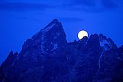 Moonrise over the Grand Teton, Grand Teton National Park, Wyoming