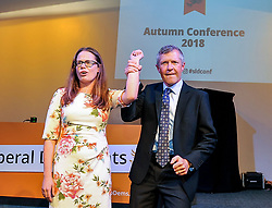 Leader of the Scottish Liberal Democrats Willie Rennie with ex press officer and rising star of the party Natalie Coupar after his keynote speech at the party's autumn conference in Dunfermline.<br /> <br /> © Dave Johnston / EEm