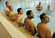 (L to R) Richie Vernon, Ross Rennie, Chris Cusiter, Joe Ansbro and Ruaridh Jackson during todays recovery session.<br /> Scotland rugby union team post match recovery session, Rugby World Cup, Southland Aquatic Centre, Invercargill, Southland, New Zealand, Sunday 10th September 2011<br /> PLEASE CREDIT ***FOTOSPORT/DAVID GIBSON***