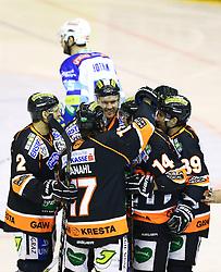 26.12.2012, Eisstadion Liebenau, Graz, AUT, EBEL, Graz 99ers vs EC VSV, 34. Runde, im Bild Jubel nach dem Tor zum 1 zu 0 durch Guillaume Lefebvr, (99ers, #14) // during the Erste Bank Icehockey League 34th Round match betweeen Graz 99ers and EC VSV at the Icehockey Stadium Liebenau, Graz, Austria on 2012/12/26. EXPA Pictures © 2012, PhotoCredit: EXPA/ Patrick Leuk
