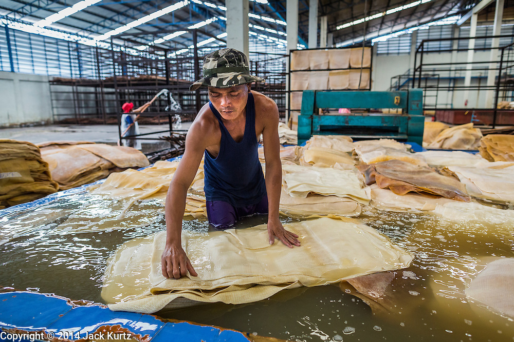 02 SEPTEMBER 2014 - BO THONG, CHONBURI, THAILAND:  A worker at Bothong Rubber Fund Cooperative in Bo Thong, Chonburi, Thailand, washes rubber sheets purchased from area rubber farmers. Thailand is the leading rubber exporter in the world. In the last two years, the price paid to rubber farmers has plunged from approximately 190 Baht per kilo (about $6.10 US) to 52 Baht per kilo (about $1.60 US). It costs about 65 Baht per kilo to produce rubber ($2.05 US). A rubber farmer in southern Thailand committed suicide over the weekend, allegedly because the low prices meant he couldn't provide for his family. Other rubber farmers have taken jobs in the construction trade or in Bangkok to provide for their families during the slump.   PHOTO BY JACK KURTZ