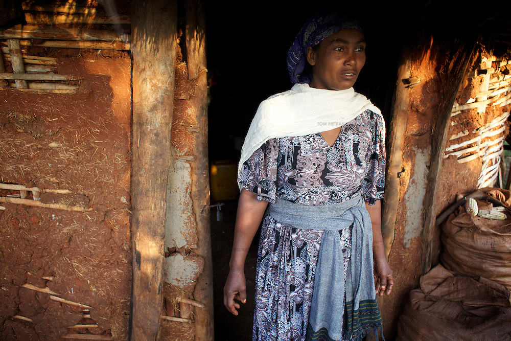 Bayush stands outside her home. <br /> <br /> Bayush Kassan (age 37) lives in the village of Amba Sebat, 20km from the town of Assosa with her daughter Genet (age 14) and son Destaw (age 11) in a small thatched hut without running water or electricity. Bayush is part of a cooperative of 31 women who collectively own land on which they farm vegetables. She grows sesame and other oil-seeds and her village cooperative is part of the Assosa Farmers Multipurpose Cooperative Union. The Union buy's Bayush's seed for almost double the average price paid to her by private traders. <br /> <br /> Growing oil seeds presents challenges for the famers of Assosa in western Ethiopia. Many of the most vulnerable are forced to sell to when they cannot be guaranteed a good price for their product. Farms are often located in isolated areas which entails huge amounts of time and effort simply getting seeds to market. Many farmers do not have the resources to properly invest in their land and are tied into exploitative loan arrangements with brokers that deny them the chance to take proper control of their farms. And, as with other agricultural products, it is those agents that process the seeds into oil that secure the greatest profit, very little of which trickles down to benefit the farmer.<br /> <br /> In response to these pressures, twenty farming cooperatives have formed the Assosa Farmers Multipurpose Cooperative Union. By working together, individual farmers are able to pool their resources and squeeze out exploitative agents and brokers. The Union has sufficient capital that it can afford to wait for prices to reach a level at which it is profitable to sell seeds to market. The Union provides loans to constituent members together with training and advice to help farmers make better use of their land. And by collectively hiring vehicles through the Union, farmers need not spend so much time ferrying their produce to market. <br /> <br /> All these measures benefit farmers and hav