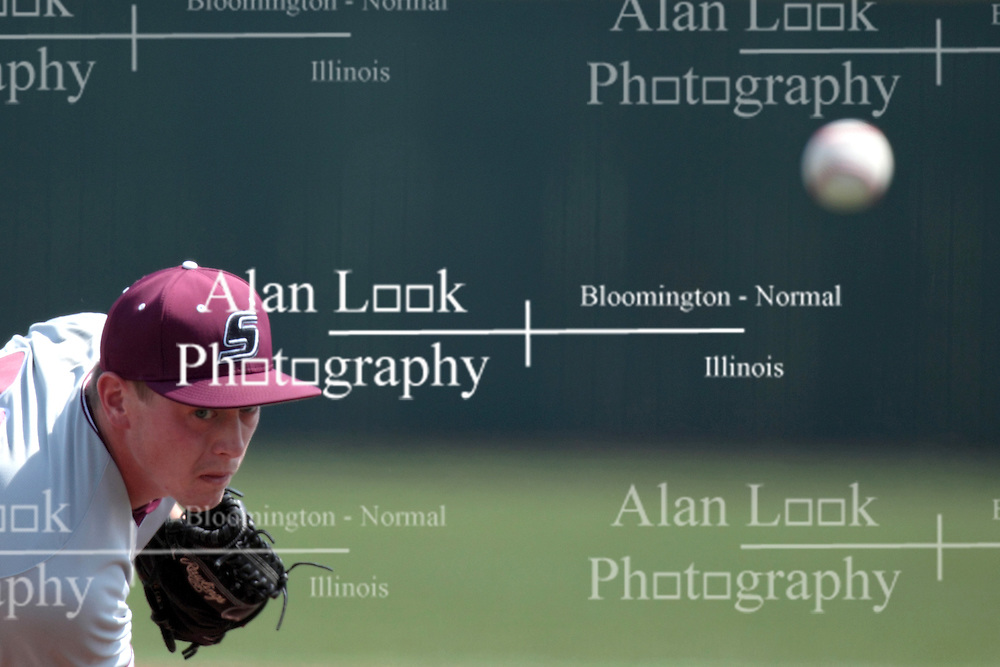 26 April 2014:  Todd Eaton during an NCAA Division 1 Missouri Valley Conference (MVC) Baseball game between the Southern Illinois Salukis and the Illinois State Redbirds in Duffy Bass Field, Normal IL