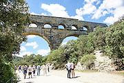 The Roman Aqueduct over the Gardon River, Pont du Gard, Provence, France