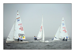 470 Class European Championships Largs - Day 1.Racing in grey and variable conditions on the Clyde..GER72, Annika BOCHMANN, Elisabeth PANUSCHKA, Verein Seglerhaus Am Wannsee, GBR862, Sophie WEGUELIN, Sophie AINSWORTH, Royal Lymington Yacht Club