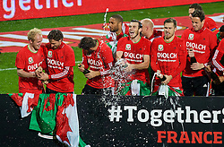 CARDIFF, WALES - Tuesday, October 13, 2015: Wales players celebrate after qualifying for the finals following a 2-0 victory over Andorra during the UEFA Euro 2016 qualifying Group B match at the Cardiff City Stadium. Jonathan Williams, Joe Allen, captain Ashley Williams, Gareth Bale, Aaron Ramsey, goalkeeper Daniel Ward. (Pic by Paul Currie/Propaganda)