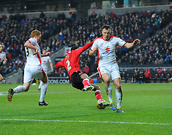 Bristol City's Mark Little goes down under the challenge of Milton Keynes Dons' Antony Kay  - Photo mandatory by-line: Joe Meredith/JMP - Mobile: 07966 386802 - 07/02/2015 - SPORT - Football - Milton Keynes - Stadium MK - MK Dons v Bristol City - Sky Bet League One