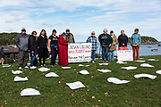 October 6, 2019, Bar Harbor, Maine. Members of Indivisible MDI hold a die-in protest after a Supreme Court ruling on abortion rights. They hold Susan Collins, R-ME, responsible for her vote on Brett Kavanaugh's confirmation.