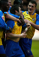 Photo: Paul Greenwood.<br />Tranmere Rovers v Hereford City. FA Cup Third Round. 05/01/2008. <br />Hereford's Ben Smith (C) is congratulated by team mates