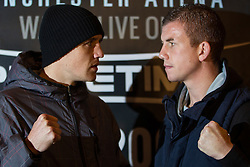 © Licensed to London News Pictures . 20/11/2012 . Manchester , UK . l-r Stephen Foster Junior and Gary Buckland . Hatton Promotions Ricky Hatton undercard press conference at Manchester's Hard Rock Cafe today (20th November 2012) ahead of bouts at the Manchester Arena on November 24th 2012 . Photo credit : Joel Goodman/LNP
