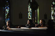 """BRONX, NEW YORK, JANUARY 2, 2018 The transgender cast members of the film """"Saturday Church"""",  actors Indya Moore, with curly hair, Alexia Garcia, with long hair, and Mj Rodriguez, wearing head scarf, are seen at St. Peter's Episcopal Church in the Bronx, NY. 1/2/2018 Photo by Jennifer S. Altman/For The Times"""