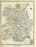 Ancient map of Shropshire Copperplate engraving From the Encyclopaedia Londinensis or, Universal dictionary of arts, sciences, and literature; Volume XXIII;  Edited by Wilkes, John. Published in London in 1828