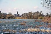 Nederland, Nijmegen, 12-3-2020 In Nijmegen en de aangrenzende Ooijpolder staat het water van de Waal verhoogd. Het voetgangersbruggetje de Ooyblik naar de Stadswaard is niet meer bereikbaar. Dieren zoeken het hogerop.De waalkade is vorig jaar voor een deel met 1 meter verlaagd, en overstrolmt daarom sneller als voorheen. Hij is afgesloten voor verkeer en de bussen nemen een alternatieve route.. Foto: Flip Franssen