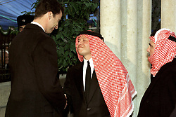 King Abdullah bin Al Hussein (right) receives condolences from Crown Prince Felipe of Spain during funeral in Amman, Jordan on February 8, 1999. Twenty years ago, end of January and early February 1999, the Kingdom of Jordan witnessed a change of power as the late King Hussein came back from the United States of America to change his Crown Prince, only two weeks before he passed away. Photo by Balkis Press/ABACAPRESS.COM