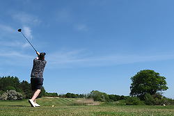 Scottish Golfers Back On The Course, Pumpherston, 29 May 2020<br /> <br /> Golf was one of the activities that were eased during phase one of lockdown restrictions in Scotland today, as long as social distancing rules were observed.<br /> <br /> Golfers at Pumpherston Golf Club in West Lothian were quick to take  advantage of the new rules.<br /> <br /> Pictured: Club member Stuart Gowans tees off at the third<br /> <br /> Alex Todd | Edinburgh Elite Media
