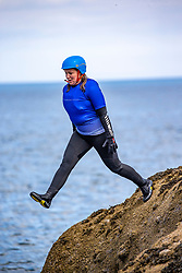 18MAY21 Mollie jumps,  Matt out with Mollie Hughes and Stevie Boyle, Coasteering with Ocean Vertical at Dunbar.