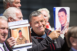 © Licensed to London News Pictures. 06/07/2016. London, UK. Families who lost loved ones in the Iraq war, speak to media on the day Sir John Chilcot's Report of the Iraq Inquiry is published. The Inquiry was predicated to take approximately one year, but has taken seven. Photo credit : Tom Nicholson/LNP
