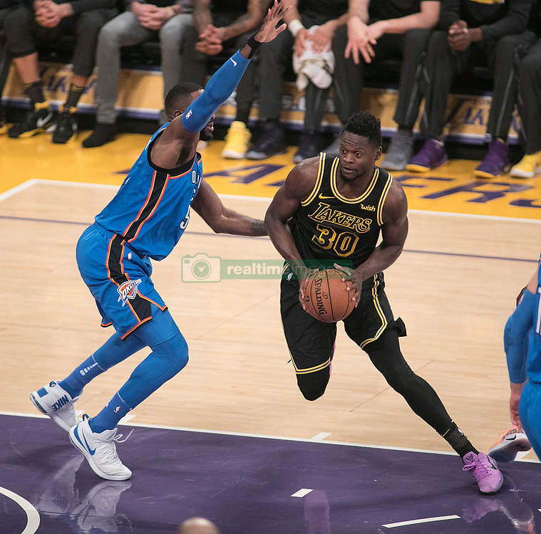 February 8, 2018 - Los Angeles, California, U.S - Julius Randle #30 of the Los Angeles Lakers goes for a shot during their NBA game with the Oklahoma Thunder on Thursday February 8, 2018 at the Staples Center in Los Angeles, California. Lakers vs. Thunder. (Credit Image: © Prensa Internacional via ZUMA Wire)