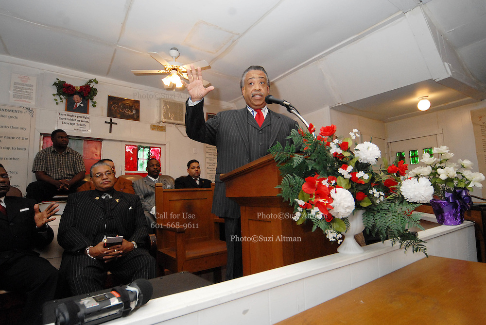 Rev. Sharpton gestures as he speaks to a crowd of about 60 gathered to hear him talk about the planned Nationalist rally on MLK day in Jena on Monday.The town of Jena Louisiana rescheduled their Martin Luther King Holiday festivities from Monday to Sunday because the Nationalist Movement planned a march in Jena on MLK day. Reverand Al Sharpton speaks Sunday Jan. 20,2008 at the Antioch Baptist Church in Jena Louisiana. Sharpton came to Jena the day before Martin Luther King holiday because the Nationalist Movement lead by Richard Barrett is to march on Jena Monday during MLK holiday. The Nationalist movement is coming to Jena in response to the Jena 6 rally last year. Sharpton was in Jena to protest the Jim Crow Justice still prevalent in the south. Sharpton discussed his feeling about MLK's legacy and how it should be celebrated and that their are still, today in the South many things to fight for, Equal Justice would be at the top of his list. Sharpton said you can not heal the community until justice is dealt with fairly, no white justice or black  justice -Equal Justice for all is what will heal the town of Jena.(Photo/© Suzi Altman)