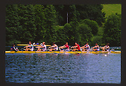 Lucerne, SWITZERLAND.  GBR M8+ Bow, Richard STANHOPE, Salih HASSAN, Peter BEAUMONT, Gavin STEWART, Terence DILLON, Anton OBHOLZER, Steve TURNER, Nicholas BURFITT, cox Simon JEFFRIES,  [Eights Returning to the boating area after racing] 1988  Lucerne International Regatta, Lake Rotsee. June 1988 [Mandatory Credit - Peter Spurrier/Intersport Images] 1988 Lucerne International Regatta