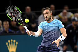 November 1, 2018 - Paris, France - Bosnian player DAMIR DZUMHUR returns the ball to Serbian player N. DJOKOVIC during the tournament Rolex Paris Master at Paris AccorHotel Arena Stadium in Paris France..Withdrawal of Damir Dzumhur on injury.Novak Djokovic won 6-1 2-1 (Credit Image: © Pierre Stevenin/ZUMA Wire)