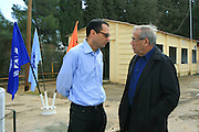 "The government secretary Zvi Hauser and stef wertheimer at the cornerstone ceremony for the ""metzudat koach"" museum. Metzudat Koach Memorial (also Nabi Yusha fortress) commemorates 28 soldiers who died during the conquering of the strategically important fortress, in 1948. The fortress and observation point is located in the Upper Galilee, Near Naharia. The fortress was a key observation point in the Naftali heights, overlooking the Hula Valley, and used mostly in an attempt to block the Palestine/Lebanon border. Today, the fortress serves as an Israel Border Police base."