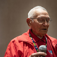 Veteran and hero Lawrence Talamante, 94, shares a story with the Veterans of the Honor Flight group and thanked his son Nestor for being with him on the trip, during the groups  last dinner together in Washington D.C. Jun. 06.