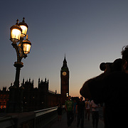 Sunset behind Big Ben and the Houses of parliament. Big Ben is to chime non-stop for three minutes to help ring in the London 2012 Olympics. Special permission had to be gained for the hour bell at the Palace of Westminster to toll out of its regular sequence. It will strike more than 42 times between 8.12am and 8.15am on 27 July to herald the beginning of the first day of Games. It will be the first time Big Ben has been rung outside its regular schedule since 15 February 1952, when it tolled every minute for 56 strokes for the funeral of King George VI. London 2012 Olympic games  London, UK. 22nd July 2012. Photo Tim Clayton