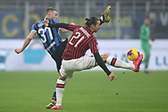 Zlatan Ibrahimovic of AC Milan and Milan Skriniar of Inter during the Serie A match at Giuseppe Meazza, Milan. Picture date: 9th February 2020. Picture credit should read: Jonathan Moscrop/Sportimage
