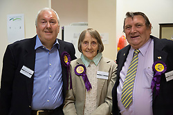UKIPS John Okonkowski, Frances Fox, Roger Herdman, at the count in Peterborough as  at the count in Peterborough as they take Conservative seats in 3 wards in the Peterborough area in the local elections, Friday 23rd May 2014.  i-Images
