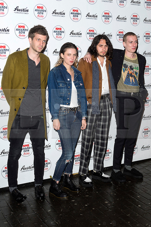 © Licensed to London News Pictures. 17/02/2016. band ALICE WOLF arrives at the NME Awards 2016 with Austin, Texas.  Previous winners of NME's Godlike Genius Award include Suede, Blondie, The Clash, Paul Weller, The Cure, Manic Street Preachers, New Order & Joy Division, Dave Grohl, Noel Gallagher and Johnny Marr.  London, UK. Photo credit: Ray Tang/LNP