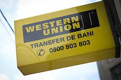 July 25, 2018 - Bucharest, Romania - A Western Union money transfer office is seen in Bucharest, Romania on July 25, 2018. (Credit Image: © Jaap Arriens/NurPhoto via ZUMA Press)
